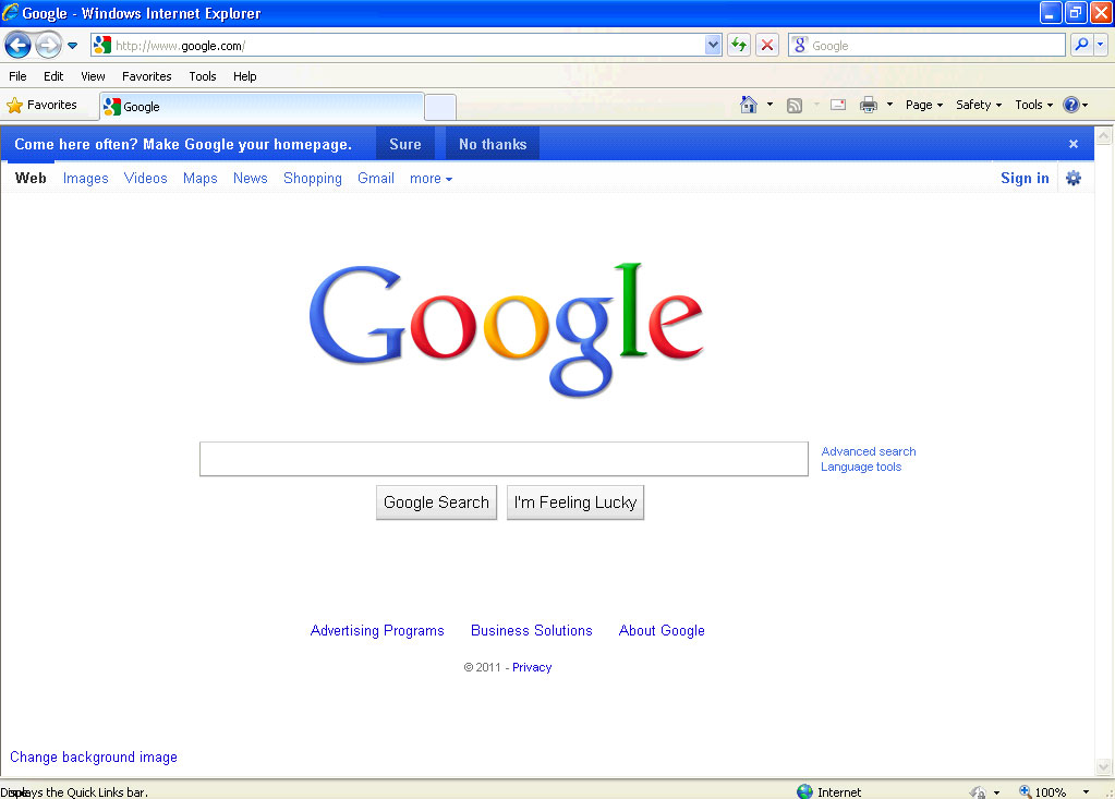 Google s new homepage design made me think and it tires me out by bruce d weinberg isenberg - Google home design ...