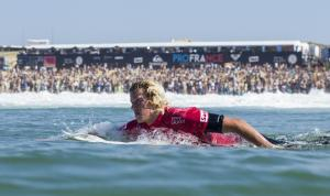 A look at the beach at The ASP Quiksilver Pro France with surfer Jon Jon Florence in the foreground