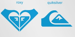 Comparison of Roxy and Quiksilver logos